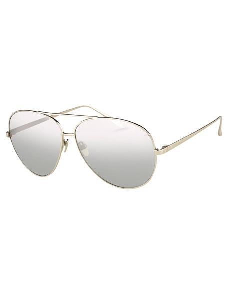 Mirrored Aviator Sunglasses, White Metal