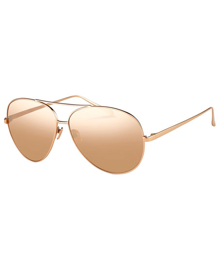 Mirrored Aviator Sunglasses, Rose-Tone Metal