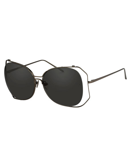 Linda Farrow Angled-Rim Butterfly Sunglasses, Gray