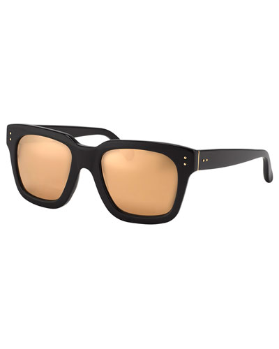 Thick-Rim Square Sunglasses, Black