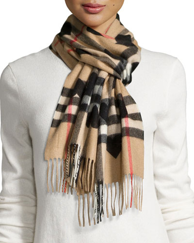 Cashmere Heart and Check Printed Scarf, Brown/Black