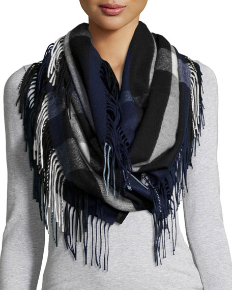 Burberry Prorsum The Fringe Cashmere Half Mega Check