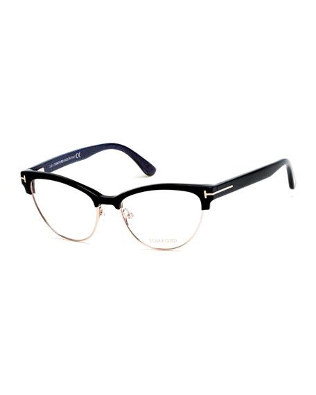 Cat-Eye Dual-Rimmed Fashion Glasses