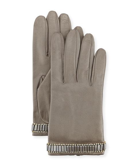 Portolano Beaded Leather Gloves, Hematite