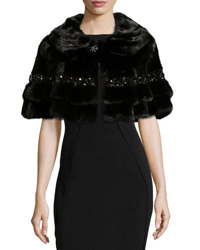 Short Fur Cape w/Beading, Black