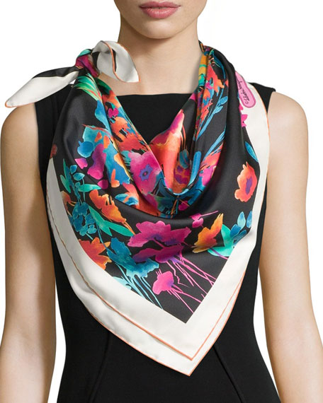 Salvatore Ferragamo Layla Silk Square Butterfly Scarf, Black