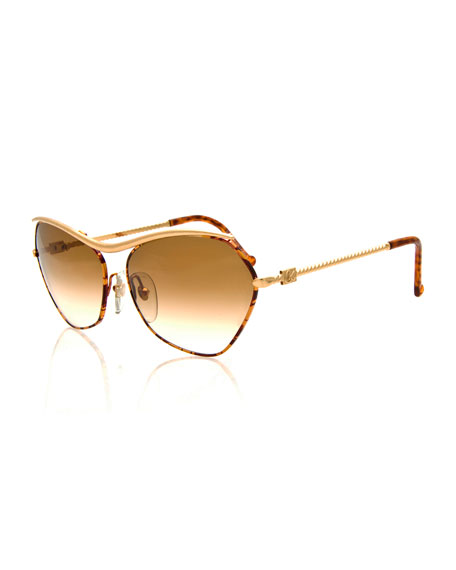 Christian Lacroix Vintage Twist-Arm Sunglasses, Gold/Tortoise