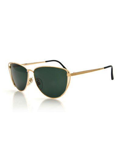 Vintage Half-Moon Sunglasses, Gold
