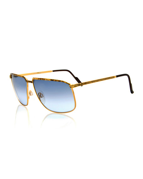 Gucci Vintage Angled Metal Sunglasses, Gold