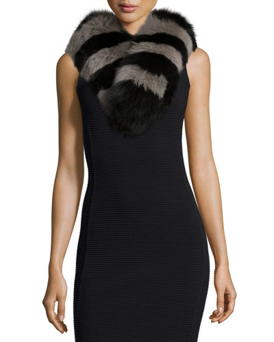 Candy Stripe Fox Fur Collar, Black/Gray