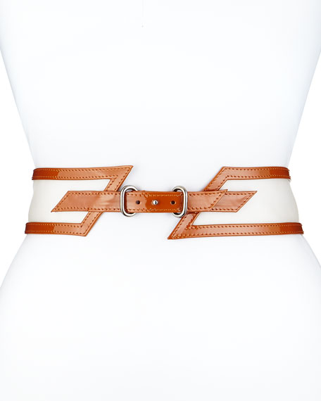 Carolina Herrera Wide Patent-Leather Belt, Clay