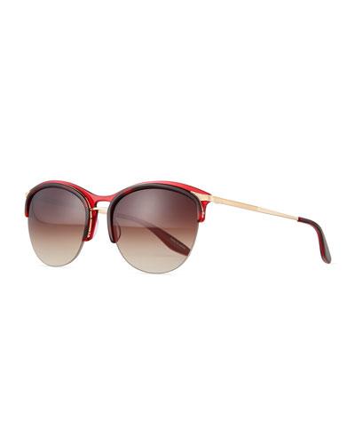 Seraphina Half-Rim Mirrored Sunglasses