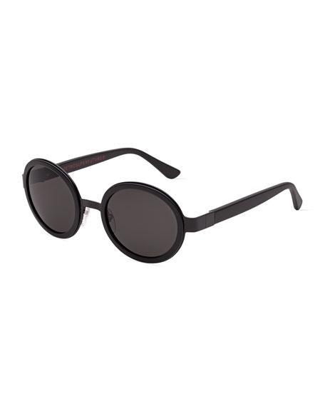 Santa Matte Round Sunglasses, Black