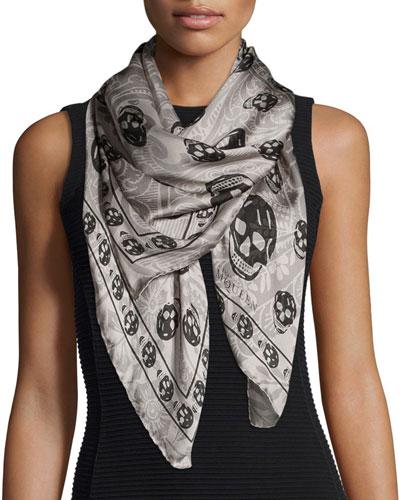 Paisley Skull-Print Silk Scarf, Gray/Black