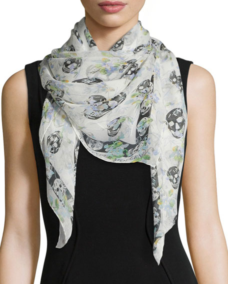 Alexander McQueen Ramage Floral Skull Silk Scarf, Ivory/Blue