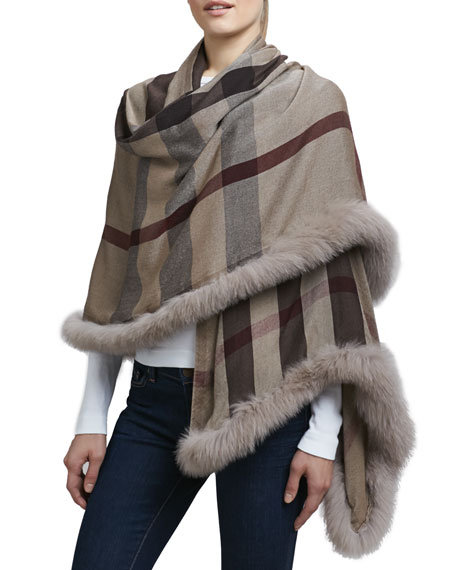 Burberry Fur-Trimmed Check Scarf