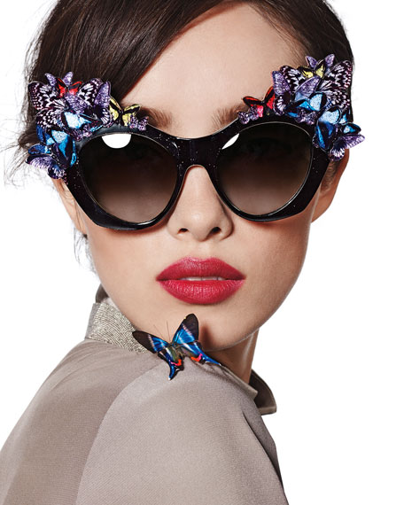Image 2 of 4: 3D Glitter Butterfly Sunglasses
