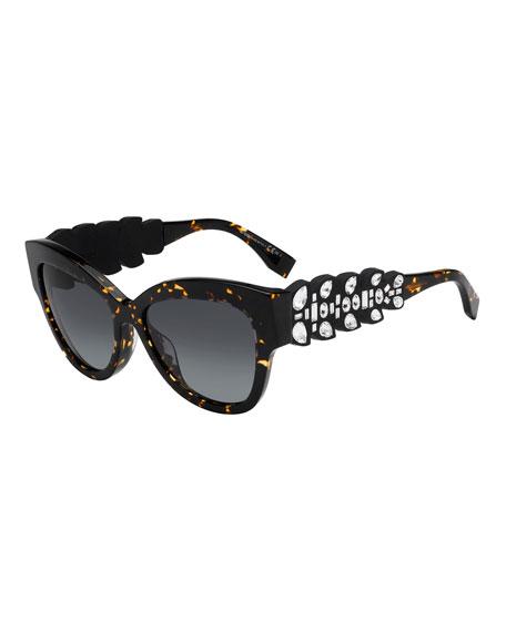 Rhinestone Trim Cat Eye Sunglasses