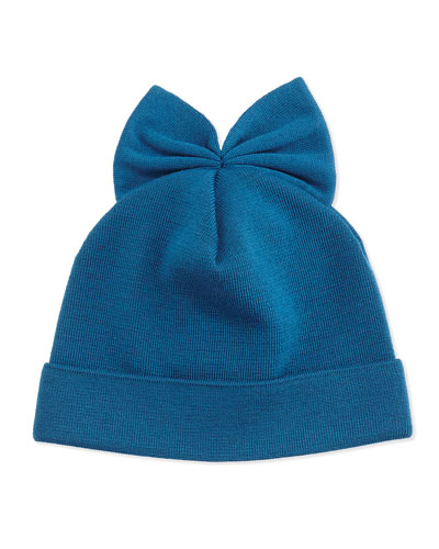 Knit Wool Beanie w/ Bow