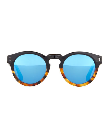 Half & Half Leonard Square Sunglasses, Black