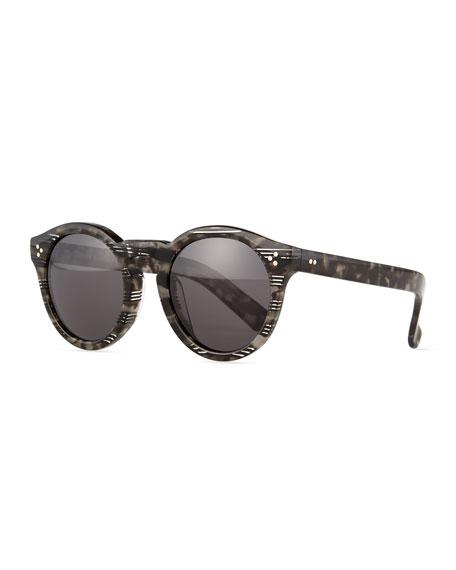 Illesteva Leonard II Striped Sunglasses, Gray Tortoise