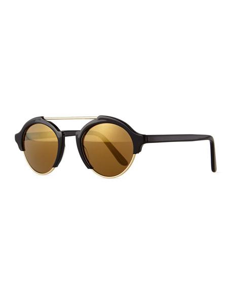 Illesteva Milan IV Round Sunglasses, Black