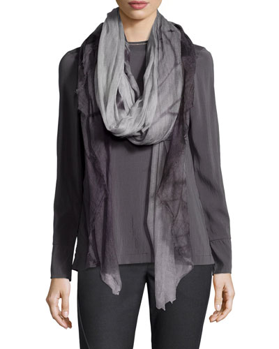 Ombre Patterned Cashmere Scarf, Volcano