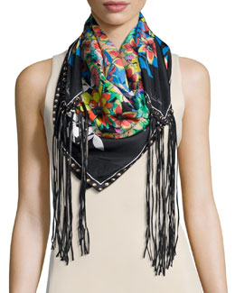 Floral Silk Leather-Tassel Scarf, Black/White