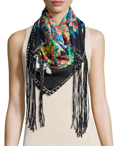 Roberto Cavalli Floral Silk Leather-Tassel Scarf, Black/White