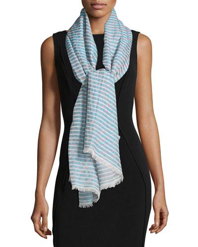 Cotton-Blend Burnout Striped Stole, Turquoise