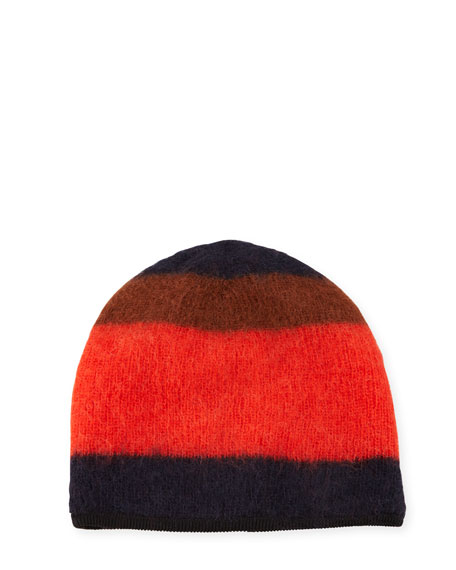 Rag & Bone Petra Striped Beanie, Fiery Red