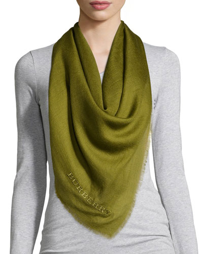Burberry Embroidered Lightweight Cashmere Scarf, Lime Chartreuse