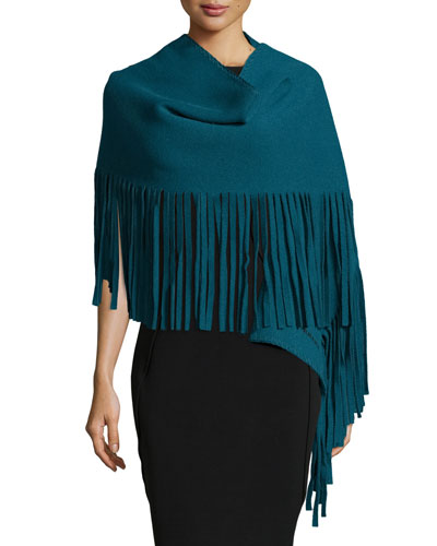 Solid Felted Fringe Scarf, Sea Blue