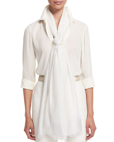 Luna Soffio Evening Stole, Optical White