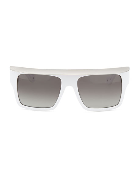 Shady Acetate Shield Sunglasses, White/Silver