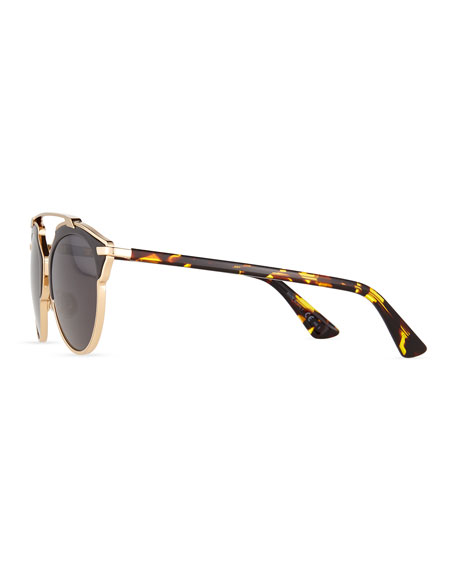 So Real Leather-Trim Metal Sunglasses