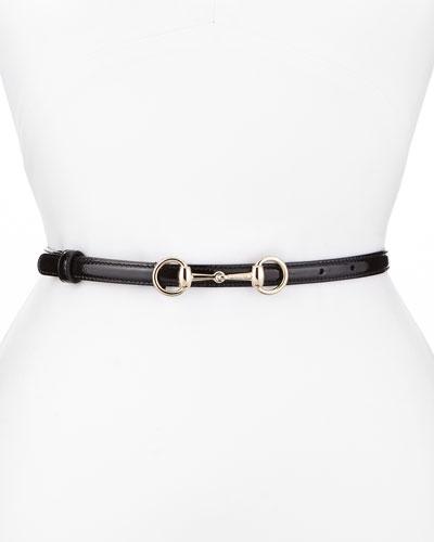 Patent Leather Horsebit Belt, Black