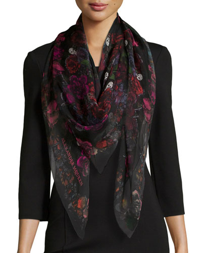Square Floral Silk Scarf, Black/Pink
