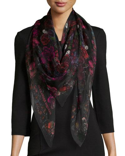 Square Floral Silk Scarf, Black/Pink