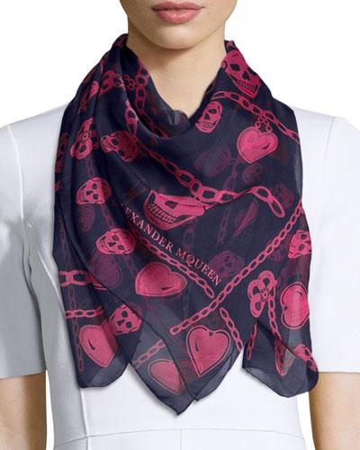 Charm & Skull Silk Scarf, Sapphire/Pink