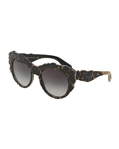 3-D Floral Cat-Eye Sunglasses