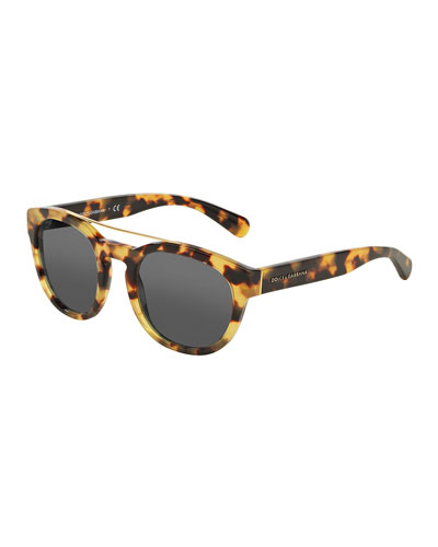 Square Brow-Bar Sunglasses, Light Havana