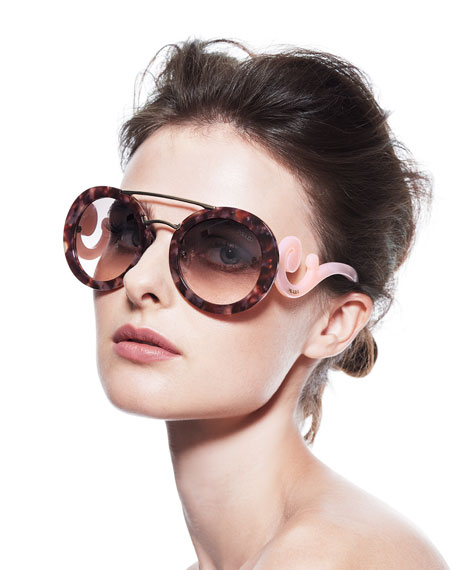 Prada Round Baroque Sunglasses  prada baroque round brow bar sunglasses