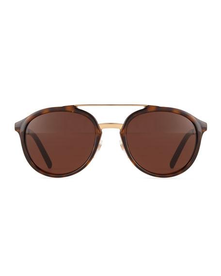 Chunky Metal & Acetate Aviator Sunglasses