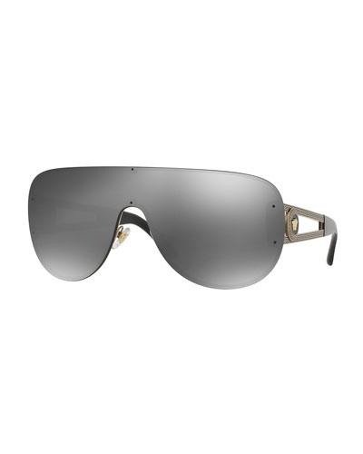 black and gold aviators e7ly  Mirrored Greek Key Shield Sunglasses, Gold/Black