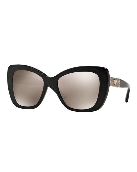 Versace Mirrored Oversize Cat-Eye Sunglasses, Black