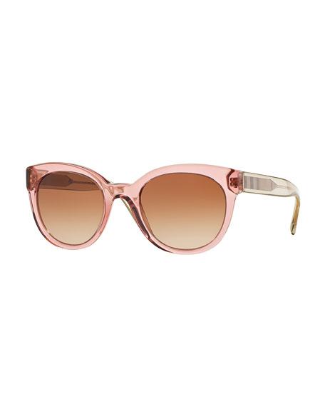 Cat-Eye Check-Trim Colorblock Sunglasses