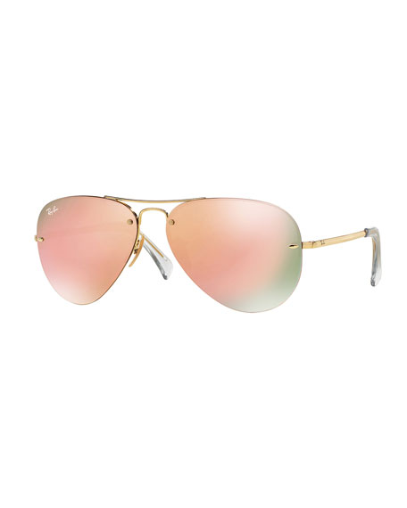 Rimless Aviator Eyeglass Frames : Ray-Ban Rimless Mirrored Iridescent Aviator Sunglasses
