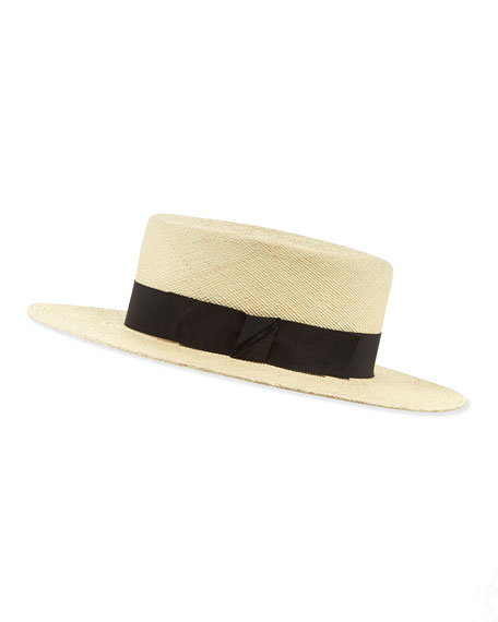 Gladys Tamez The Gloria Straw Boater Hat, Natural