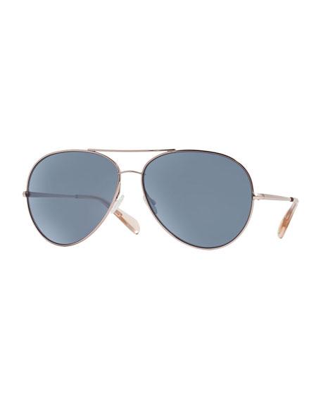 Oversized Mirrored Aviator Sunglasses  oliver peoples sayer oversized mirrored aviator sunglasses